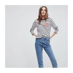 ASOS black and white stripe long sleeve top